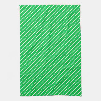 Diagonal pinstripes - emerald green and white hand towel