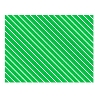 Diagonal pinstripes - emerald green and white postcard