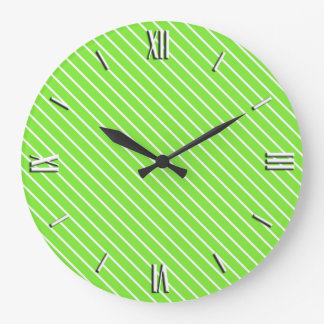 Diagonal pinstripes - lime green and white large clock