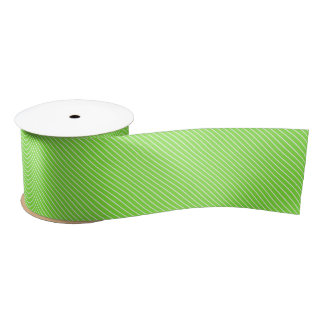Diagonal pinstripes - lime green and white satin ribbon