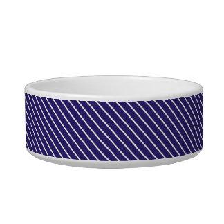 Diagonal pinstripes - navy blue and white bowl