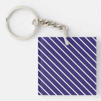 Diagonal pinstripes - navy blue and white keychain