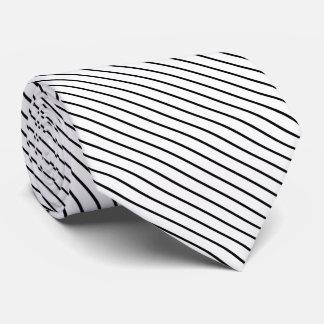 Diagonal pinstripes - white and black neck tie