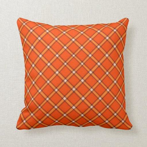 Diagonal plaid orange throw pillow zazzle Define plaid