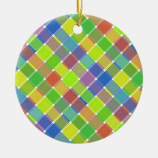 dIAGONAL pLAID pATTERN 2 Christmas Ornaments