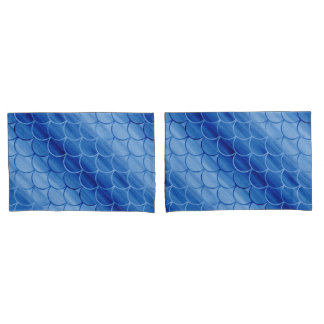 Diagonal Prussian Blue Watercolor Scales Pillow Case