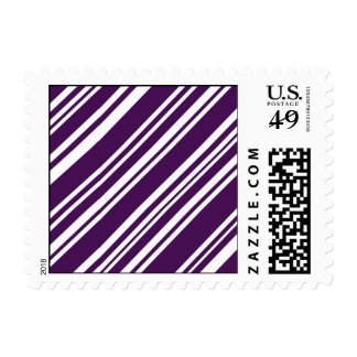 Diagonal Purple and White Candy Stripes Postage