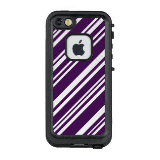 Diagonal Purple and White Stripes LifeProof FRĒ iPhone SE/5/5s Case