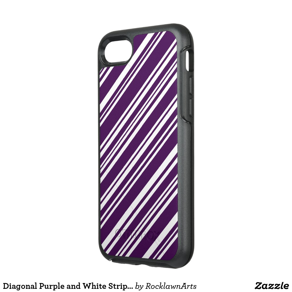 Diagonal Purple and White Stripes OtterBox Symmetry iPhone 7 Case