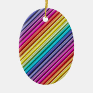 Diagonal Rainbow Ceramic Ornament