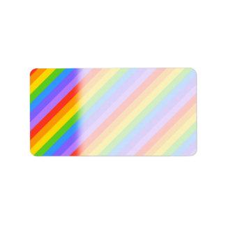 Diagonal Rainbow Stripes Pattern. Address Label