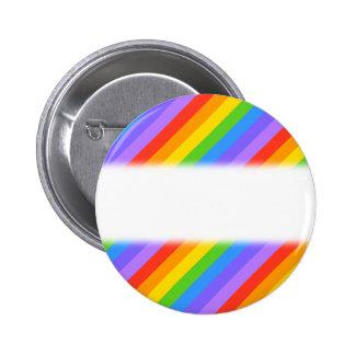 Diagonal Rainbow Stripes Pattern. Button