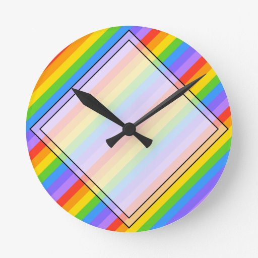 Diagonal Rainbow Stripes Pattern. Round Wall Clocks