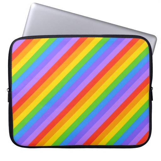 Diagonal Rainbow Stripes Pattern. Computer Sleeves