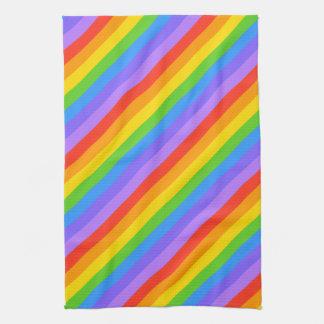 Diagonal Rainbow Stripes Pattern. Hand Towel