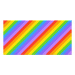 Diagonal Rainbow Stripes Pattern. Personalized Photo Card