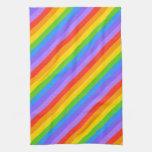 Diagonal Rainbow Stripes Pattern. Towels