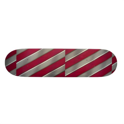 Diagonal red and silver bars skateboard decks