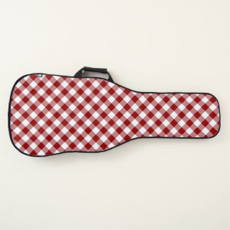 Diagonal Red and White Buffalo Plaid Guitar Case