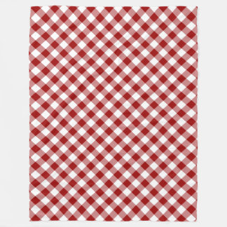 Diagonal Red and White Gingham Plaid Fleece Blanket