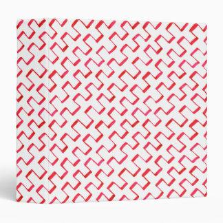 Diagonal Red Geometric Painted Pattern 3 Ring Binder