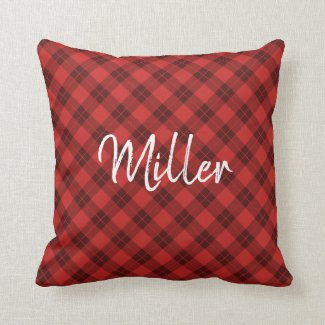 Diagonal Red Plaid Pattern White Script Name Throw Pillow
