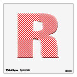 Diagonal Red Stripe Alphabet - Initial R Wall Stickers