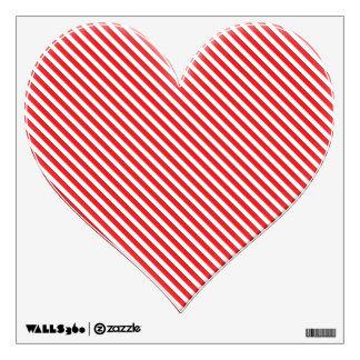 Diagonal Red Stripe Heart Wall Sticker