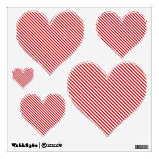 Diagonal Red Stripe Hearts Multi Wall Decal