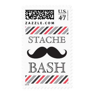 Diagonal roja gris del golpe negro del bigote sello postal