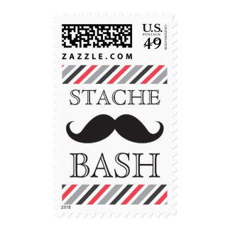Diagonal roja gris del golpe negro del bigote sello