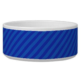 Diagonal royal blue Stripes Dog Bowls