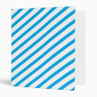 Diagonal Stripe Blue Pattern 3 Ring Binder
