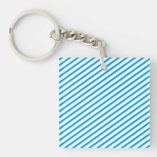 Diagonal Stripe Blue Pattern Keychain