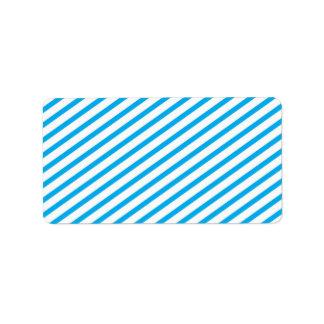 Diagonal Stripe Blue Pattern Address Label
