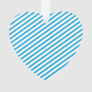 Diagonal Stripe Blue Pattern Ornament