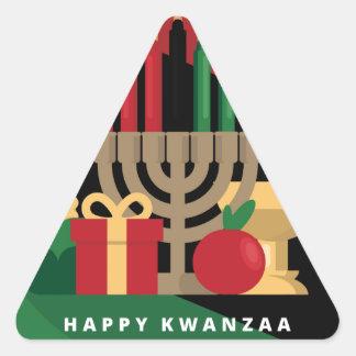 diagonal stripe Happy Kwanzaa Triangle Sticker