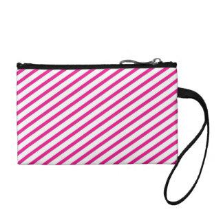 Diagonal Stripe Hot Pink Pattern Coin Wallet