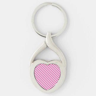 Diagonal Stripe Hot Pink Pattern Keychain