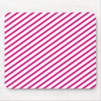 Diagonal Stripe Hot Pink Pattern Mouse Pad