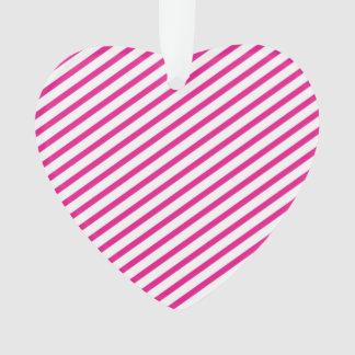 Diagonal Stripe Hot Pink Pattern Ornament