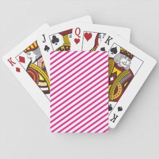 Diagonal Stripe Hot Pink Pattern Poker Deck