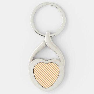 Diagonal Stripe Orange Pattern Silver-Colored Heart-Shaped Metal Keychain