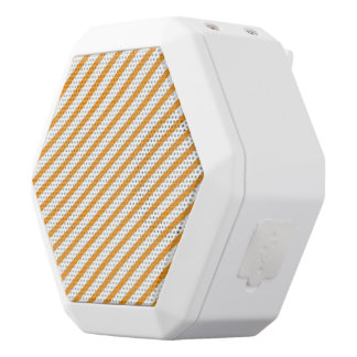 Diagonal Stripe Orange Pattern White Bluetooth Speaker