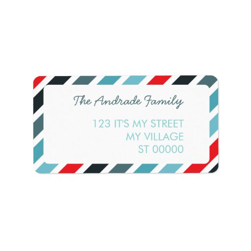 Diagonal Stripe Pattern Customized Address Labels