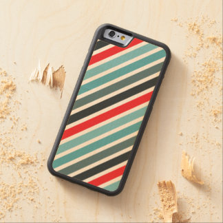 Diagonal Stripe Pattern Red and Blue Striped Carved Maple iPhone 6 Bumper Case