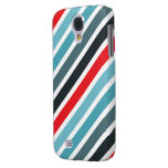 Diagonal Stripe Pattern Red and Blue Striped Samsung Galaxy S4 Cases