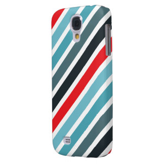 Diagonal Stripe Pattern Red and Blue Striped Galaxy S4 Cover