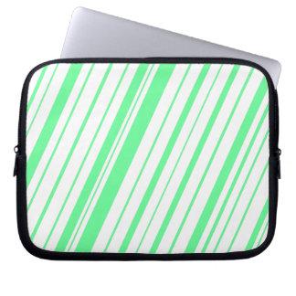 Diagonal Stripe ~ Sea Foam Green Computer Sleeve