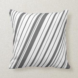 Diagonal Stripe ~Slate Gray Throw Pillow